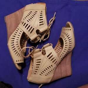 Restricted nude cut out wedge sandals